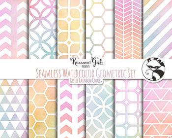 Seamless Watercolor Geometrics in Pastel Rainbow Colors Digital Paper Set