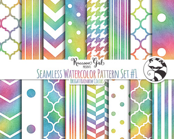 Seamless Watercolor Pattern Set #1 in Bright Rainbow Colors Digital Paper Set