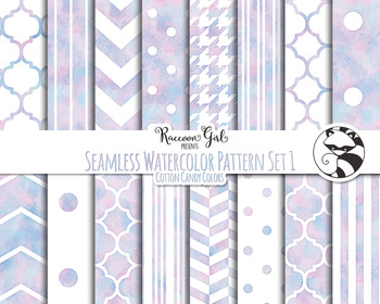 Seamless Watercolor Pattern Set #1 in Cotton Candy Colors
