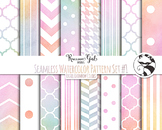 Seamless Watercolor Pattern Set #1 in Pastel Rainbow Color