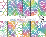 Seamless Watercolor Pattern Set #2 in Bright Rainbow Color