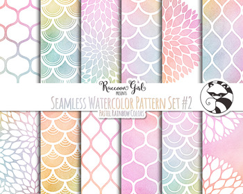 Seamless Watercolor Pattern Set #2 in Pastel Rainbow Colors Digital Paper Set