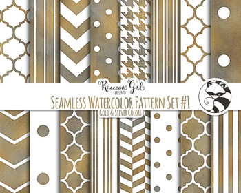 Seamless Watercolor Patterns #1 in Grunge Colors Digital Paper Set