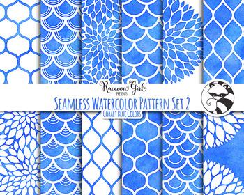 Seamless Watercolor Patterns #2 in Cobalt Blue Colors Digital Paper Set