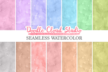 Seamless Watercolor digital paper pack, Seamless Backgrounds, pastel
