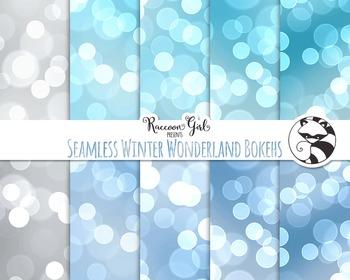 Seamless Winter Wonderland Bokeh Digital Paper Set
