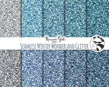 Seamless Winter Wonderland Glitter Digital Paper Set