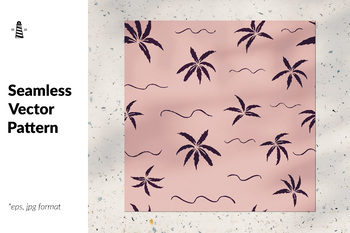 Seamless vector pattern with tropical palm leaves