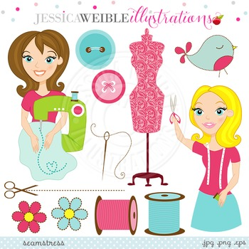 Seamstress Cute Digital Clipart, Sewing Clip Art, Thread, Buttons Clipart