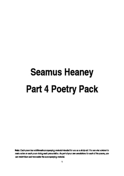 Seamus Heaney potry pack