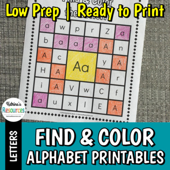Search, Find & Color Alphabet Printable Activity Pages