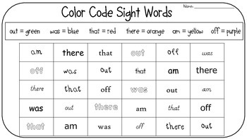 Search & Find Color Code Sight Words