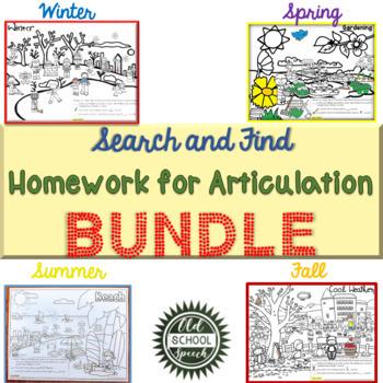 Search & Find Homework for Articulation BUNDLE
