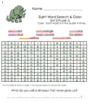 Sight Word Search and Color (Third 100)