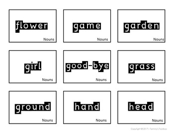 Search and Find Sight Word Cards and Games with Nouns