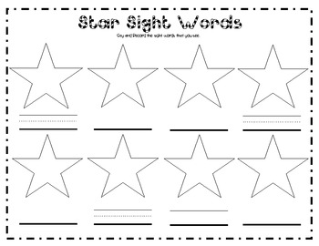 Search and Find - Star Sight Words