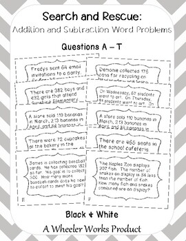 Search and Rescue Addition and Subtraction Word Problems for Third Grade