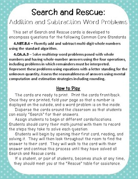 Search and Rescue: Addition and Subtraction Word Problems for Fourth Grade