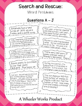 Search and Rescue: Addition and Subtraction Word Problems FREEBIE!
