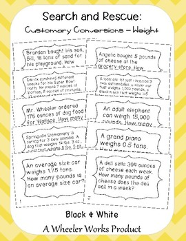 Search and Rescue: Customary Conversions - Weight Word Problems for Fifth Grade