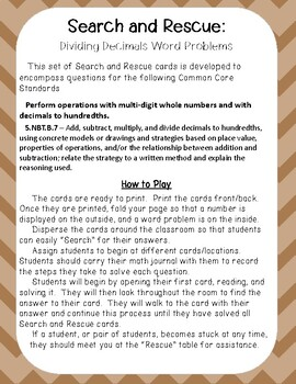 Search and Rescue: Dividing Decimals Word Problems for Fifth Grade
