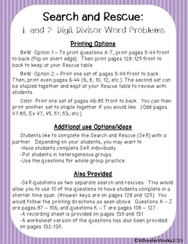 Search and Rescue: Division Word Problems for Fifth Grade