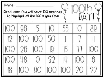 Search for 100 - 100th Day
