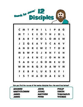 """""""Search for Jesus' Twelve Disciples"""" Word Search Puzzle"""