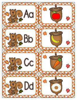 Search for Nuts Beginning Sounds Fall File Folder Game Literacy Center