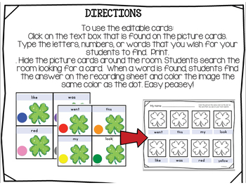 Write the Room Editable Game Cards for Spring