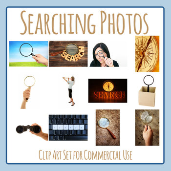 Searching / Finding Theme Photos / Photograph Clip Art Set for Commercial Use