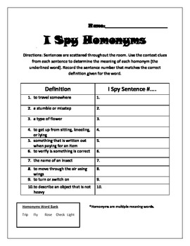 Searching For Homonyms