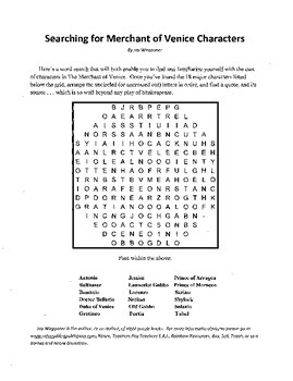 Searching Merchant Venice Characters, Introduction Merchant Venice Word Search