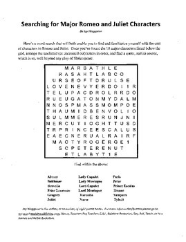 Searching Romeo & Juliet Characters, Introduction Romeo & Juliet Word Search