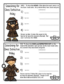 Searching for Clues Detective Relay template - Personal Use Only!