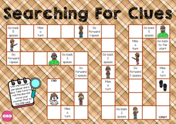 Searching for Clues (Detective themed math game board)