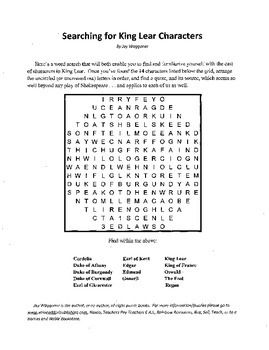 Searching for King Lear Characters, Introduction to King Lear Word Search