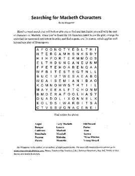 Searching for Macbeth Characters, Introduction to Macbeth Word Search