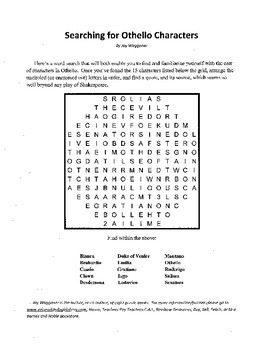 Searching for Othello Characters, Introduction to Othello Word Search