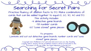 Searching for Secret Pairs (Addition Practice)