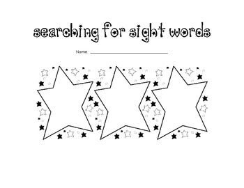 Searching for Sight Words!