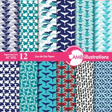 Digital Papers -Whale digital paper and backgrounds, Nautical theme, AMB-461