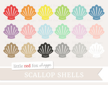 Scallop Seashell Clipart; Beach, Sea Shell, Ocean