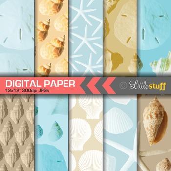 Seashell Digital Papers, Nautical, Ocean Digital Backgrounds