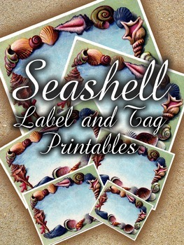 Seashell Label and Tag Printables-EDITABLE Labels & Tags