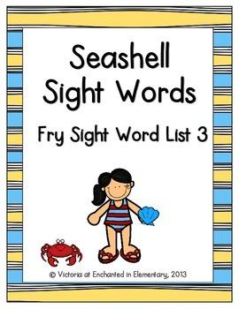 Seashell Sight Words! Fry List 3
