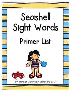 Seashell Sight Words! Primer List Pack