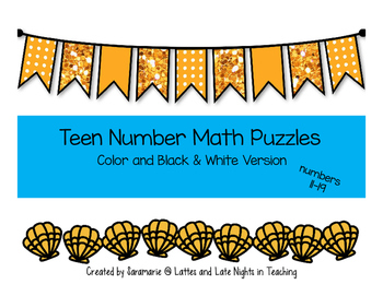 Seashell Ten Frame Number Puzzles (teen numbers)