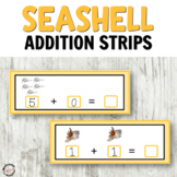 Seashell addition strips for hands on activities