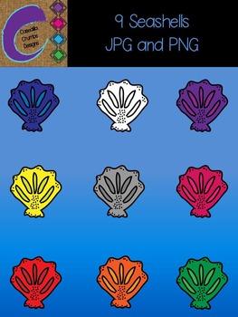 Seashells Clip Art 9 Color Images